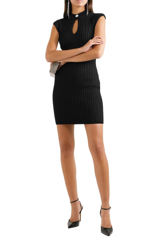 BALMAIN   Balmain Woman Cutout Ribbed And Pointelle-knit Mini Dress Black   Clouty