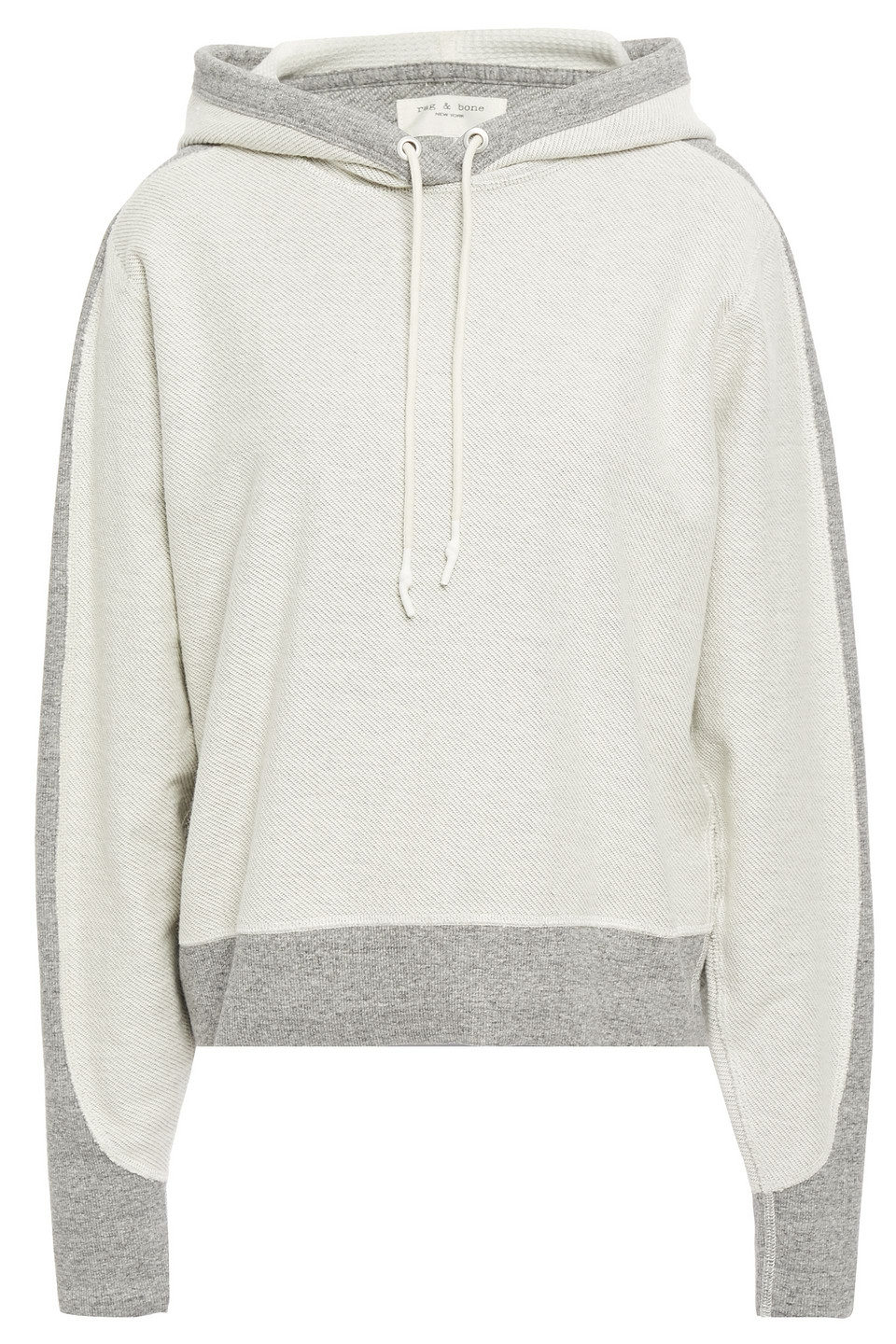 RAG & BONE | Rag & Bone Woman Utility Two-tone Cotton-terry Hoodie Off-white | Clouty