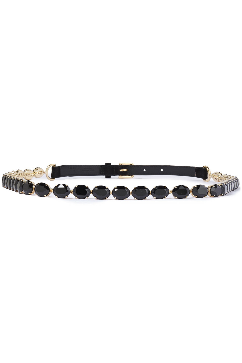Dolce & Gabbana | Dolce & Gabbana Woman Crystal And Suede Belt Black | Clouty