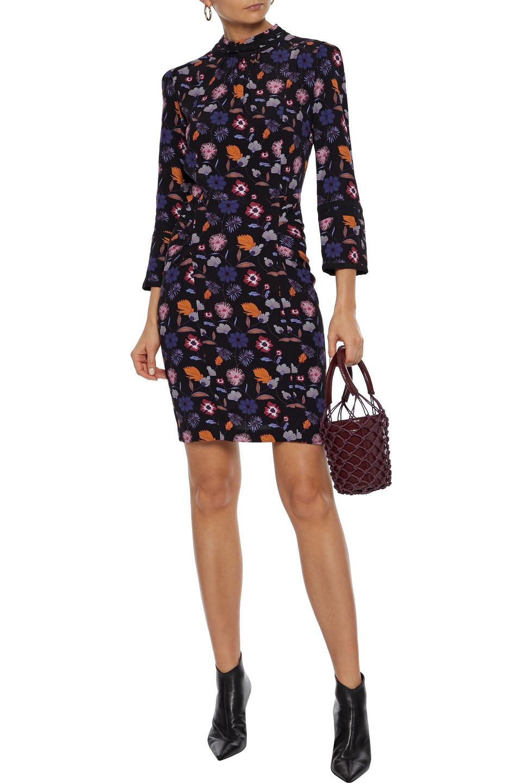 Ba&Sh   Ba&sh Woman Maha Gathered Floral-print Crepe Mini Dress Black   Clouty