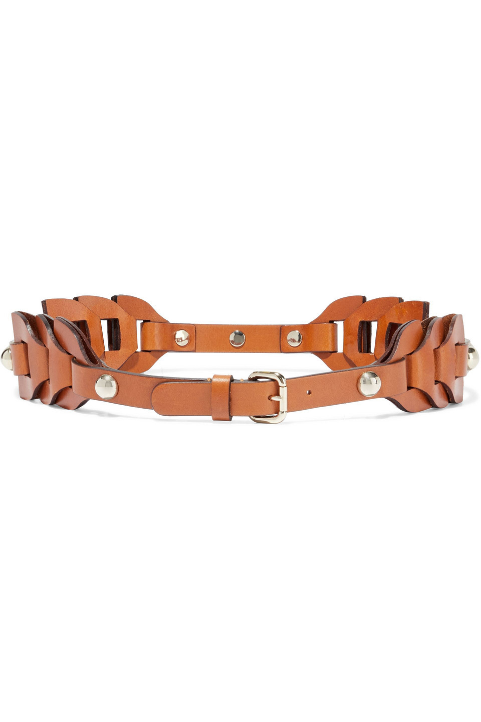 RED(V) | Red(v) Woman Cutout Studded Leather Belt Camel | Clouty