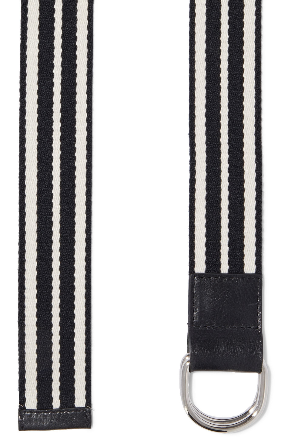 RED(V) | Red(v) Woman Leather-trimmed Striped Canvas Belt Black | Clouty