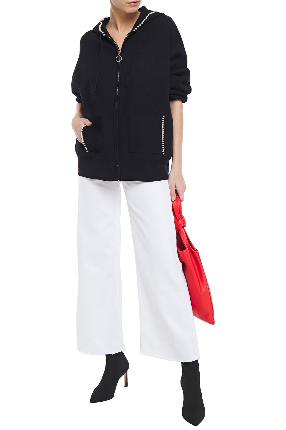 Sandro   Sandro Woman Owell Frayed High-rise Wide-leg Jeans White   Clouty
