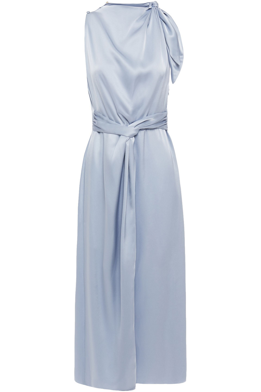 Nanushka | Nanushka Woman Kalila Twist-front Knotted Satin Midi Dress Light Blue | Clouty