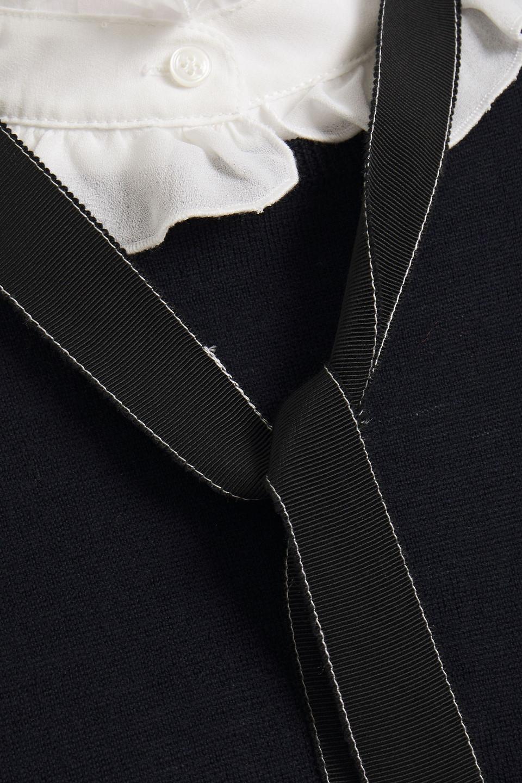 Claudie Pierlot | Claudie Pierlot Woman Tie-neck Ruffled Wool Sweater Navy | Clouty