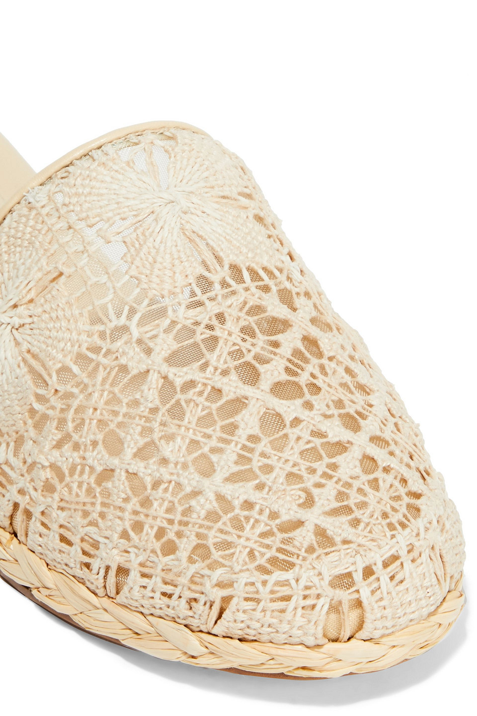 Zimmermann | Zimmermann Woman Raffia-trimmed Crocheted Cotton Slippers Cream | Clouty