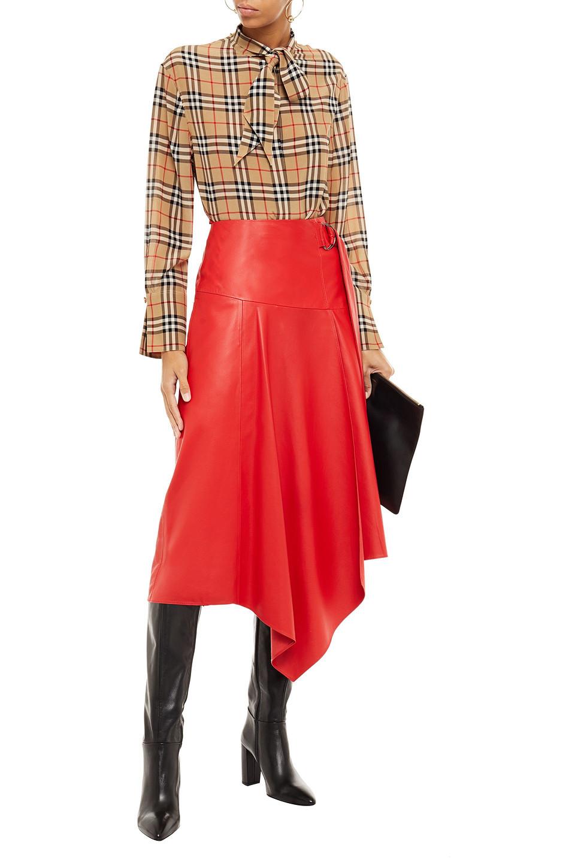 BURBERRY | Burberry Woman Tie-neck Checked Silk Crepe De Chine Shirt Sand | Clouty