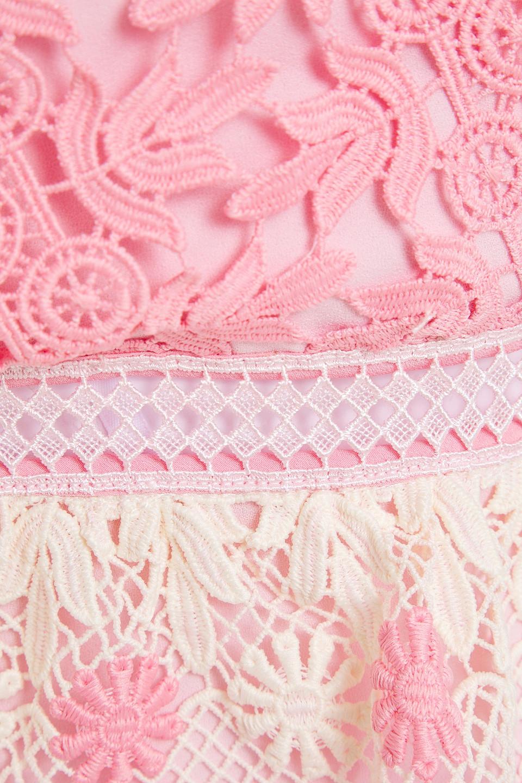 Self-Portrait | Self-portrait Woman Tiered Guipure Lace Mini Dress Pink | Clouty