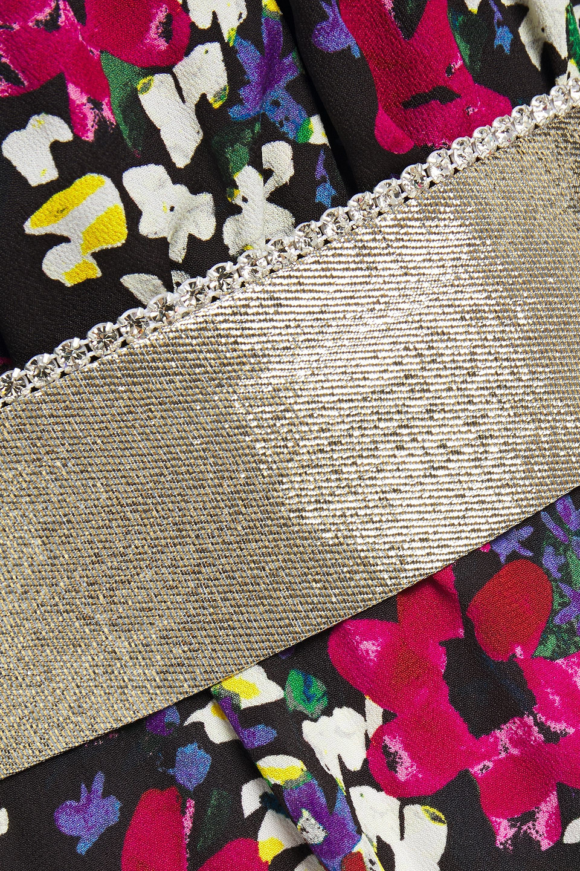 Dundas | Dundas Woman Twist-front Floral-print Silk-blend Crepe Mini Dress Black | Clouty