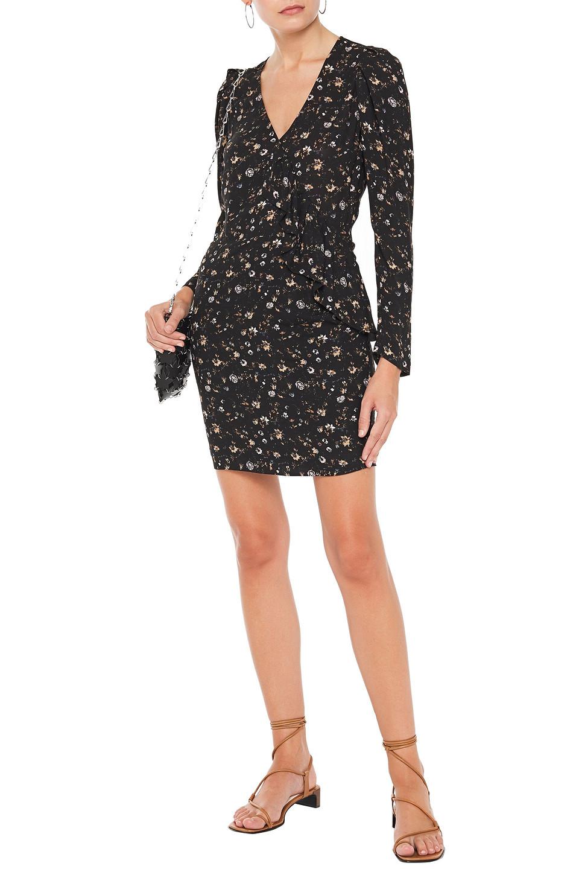 IRO | Iro Woman Lounea Ruffle-trimmed Floral-print Twill Mini Dress Black | Clouty