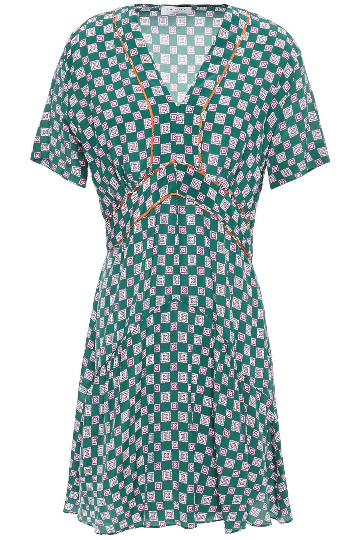 Sandro   Sandro Woman Dalli Gathered Printed Silk Crepe De Chine Mini Dress Emerald   Clouty