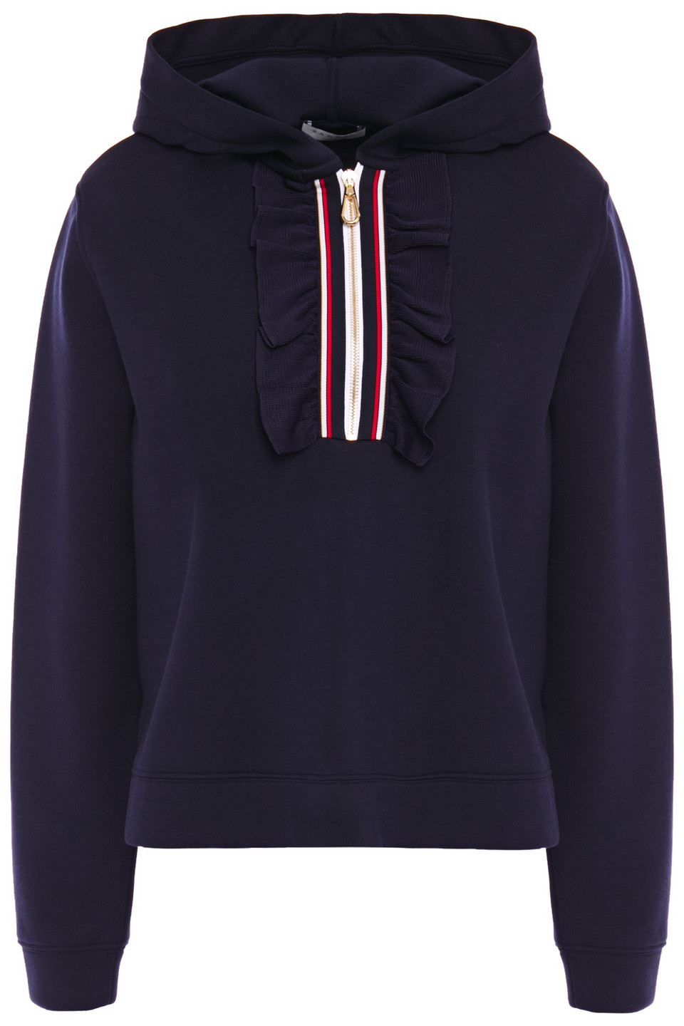 Sandro | Sandro Woman Ruffle And Grosgrain-trimmed Scuba Hoodie Navy | Clouty