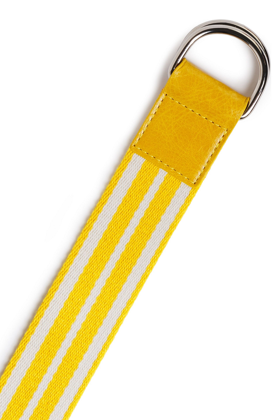 RED(V) | Red(v) Woman Leather-trimmed Striped Canvas Belt Yellow | Clouty
