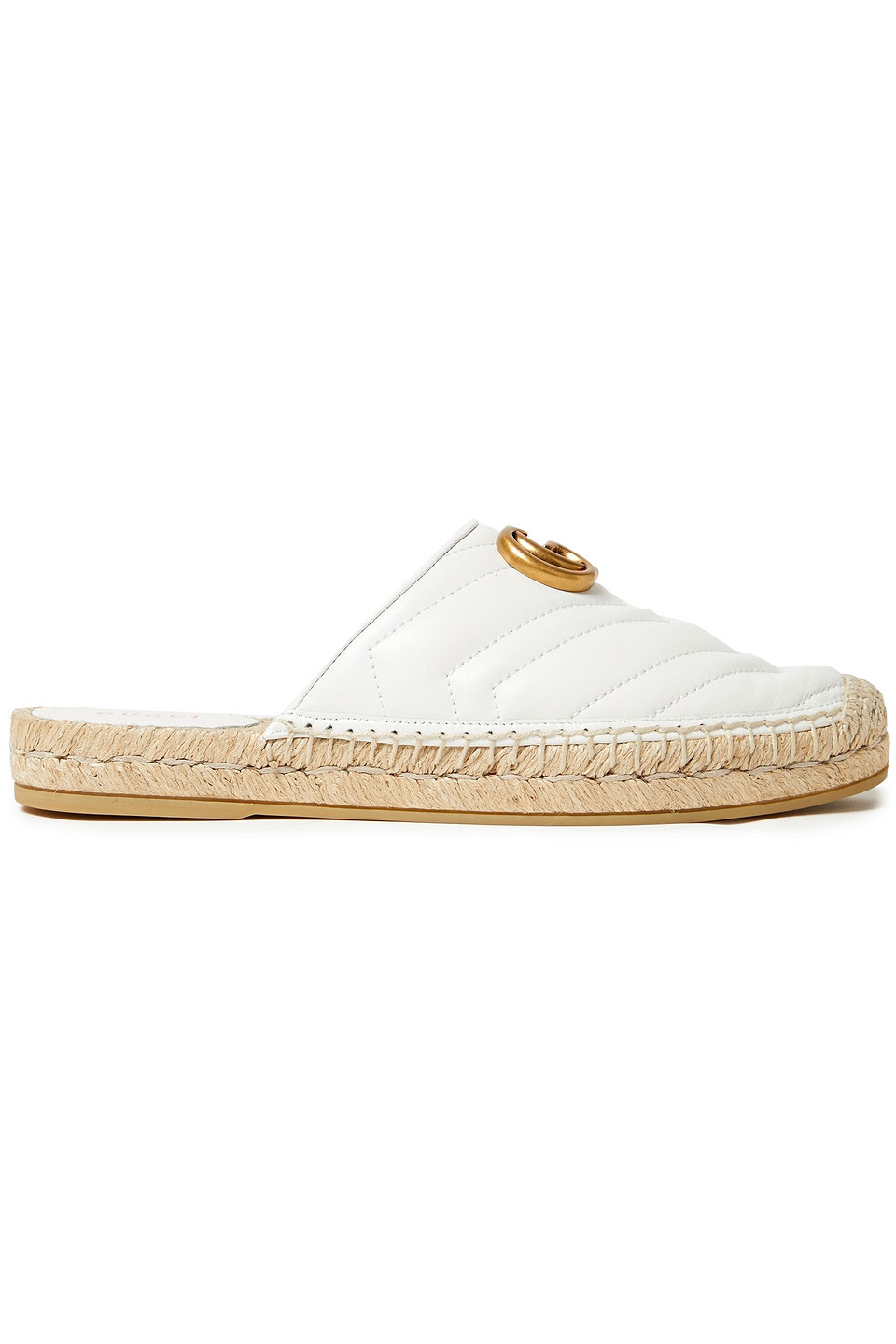 GUCCI | Gucci Woman Pilar Elaphe-trimmed Quilted Raffia Espadrille Slippers White | Clouty