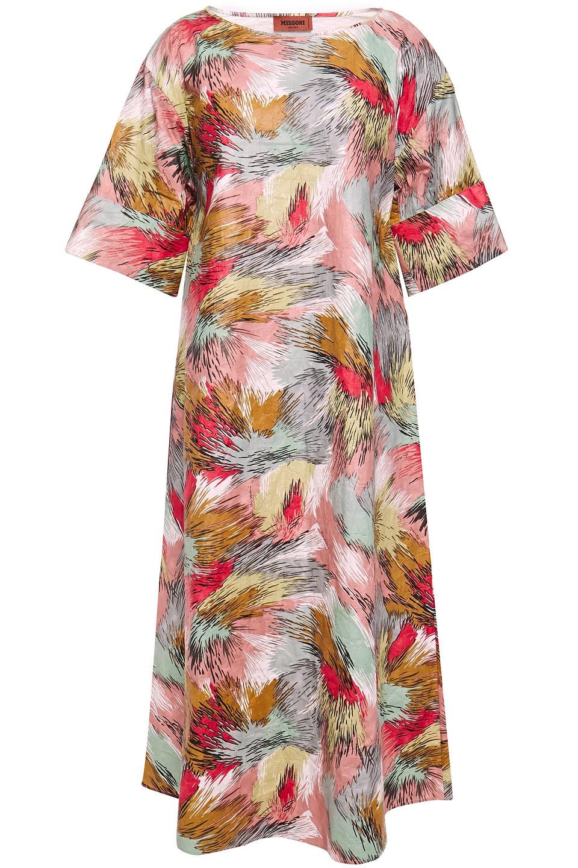 Missoni | Missoni Woman Printed Textured Vinyl Midi Dress Antique Rose | Clouty