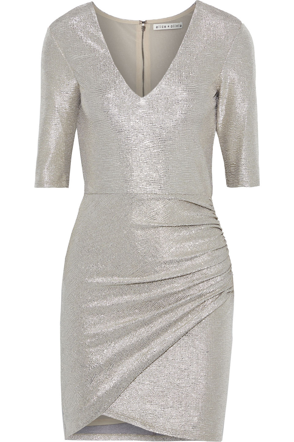 Alice + Olivia | Alice + Olivia Woman Judy Ruched Textured Stretch-lame Mini Dress Gray | Clouty