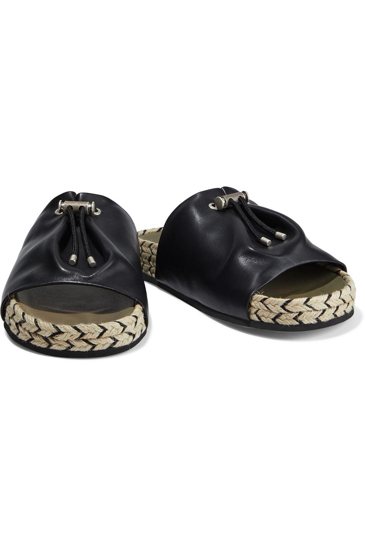 RAG & BONE | Rag & Bone Woman Eva Leather Espadrille Slides Black | Clouty