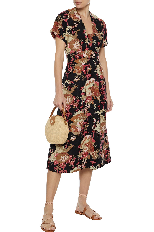 Current/Elliott   Current/elliott Woman The Retro Floral-print Linen-blend Midi Dress Black   Clouty