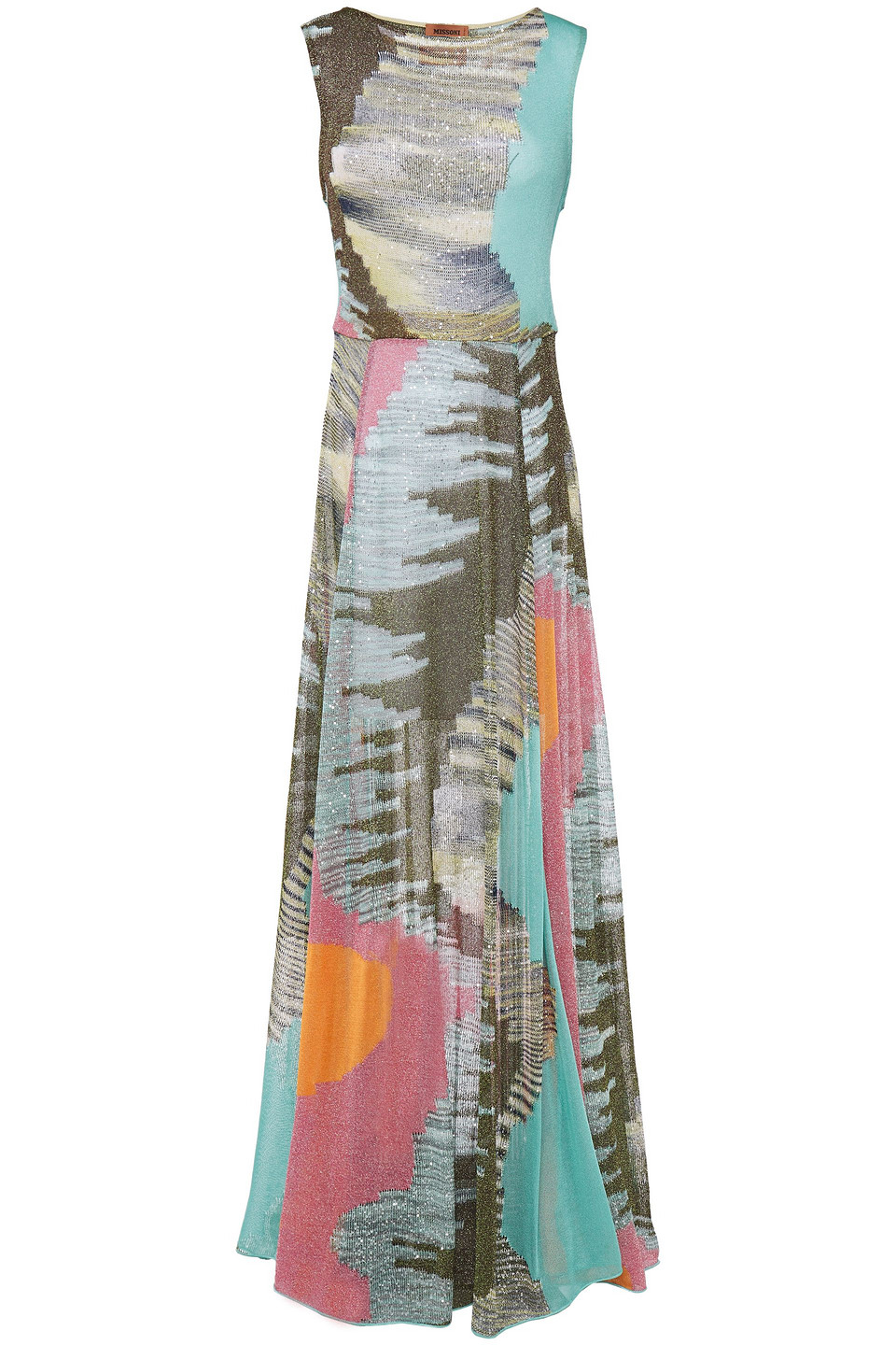 Missoni | Missoni Woman Sequin-embellished Metallic Crochet-knit Maxi Dress Turquoise | Clouty
