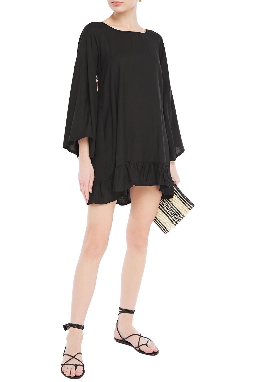 Sundress   Sundress Woman Tasseled Bead-embellished Woven Mini Dress Black   Clouty