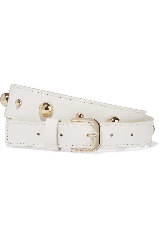 LANVIN   Lanvin Woman Studded Leather Belt Ivory   Clouty