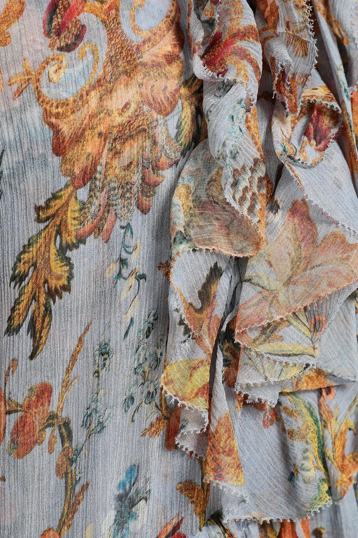 Zimmermann | Zimmermann Woman Painted Heart Cascade Printed Silk-georgette Mini Dress Stone | Clouty