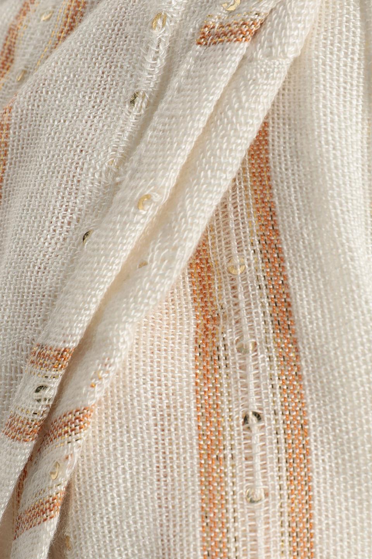 Sundress   Sundress Woman Bobby Sequin-embellished Striped Gauze Shorts Off-white   Clouty