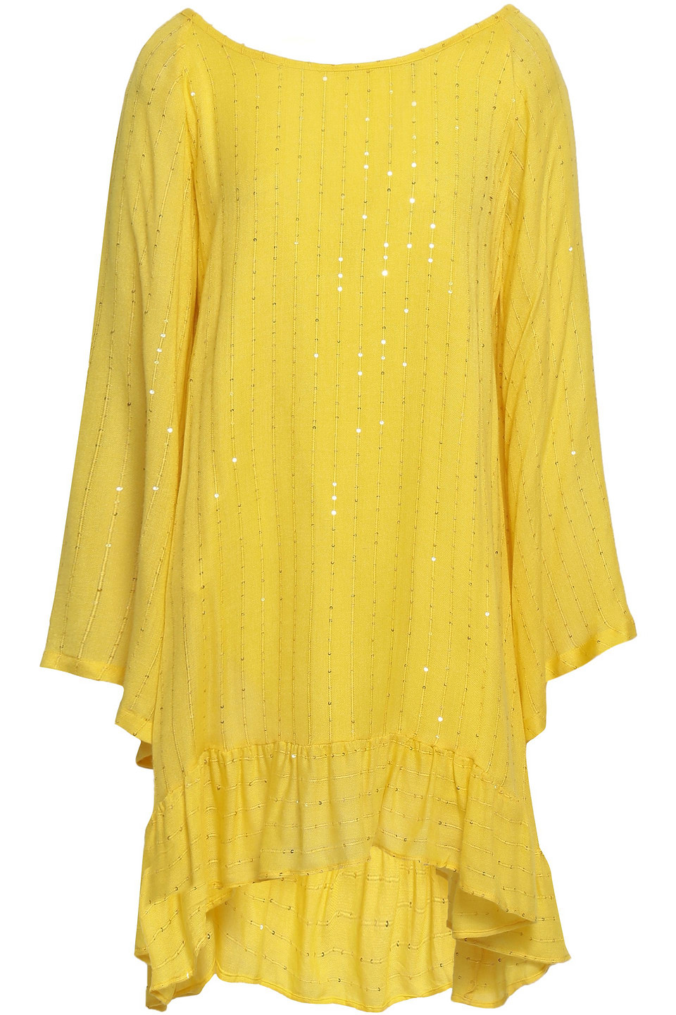 Sundress   Sundress Woman Indiana Tie-back Tassel-trimmed Embellished Gauze Coverup Yellow   Clouty