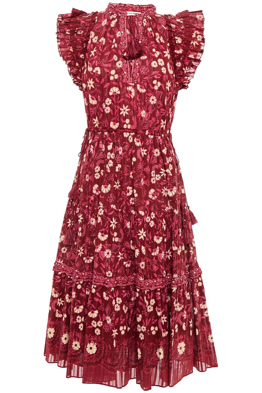 Ulla Johnson   Ulla Johnson Woman Ruffled Printed Cotton-voile Midi Dress Plum   Clouty