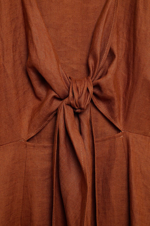 Nicholas | Nicholas Woman Tie-front Linen Midi Dress Light Brown | Clouty