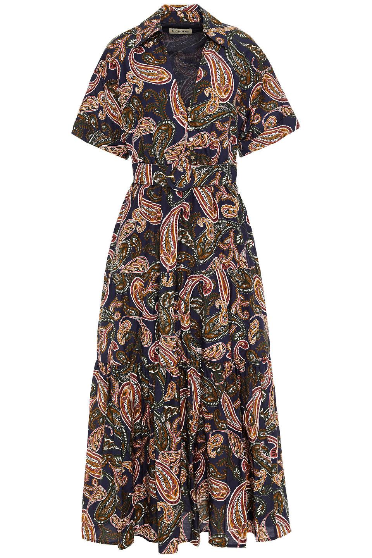 Nicholas | Nicholas Woman Amina Belted Printed Cotton And Silk-blend Midi Dress Navy | Clouty