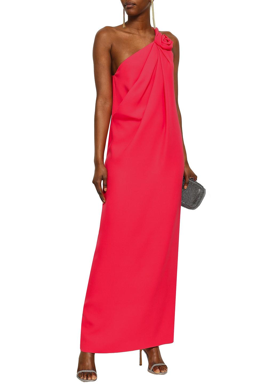 LANVIN | Lanvin Woman One-shoulder Floral-appliqued Silk-crepe Gown Bright Pink | Clouty