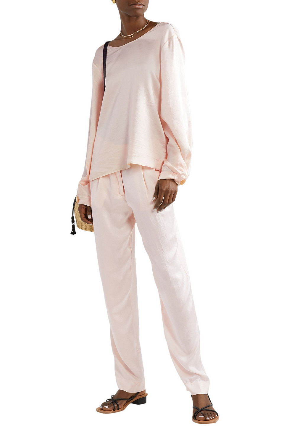 Forte Forte | Forte_forte Woman Hammered Washed Silk-satin Straight-leg Pants Pastel Pink | Clouty