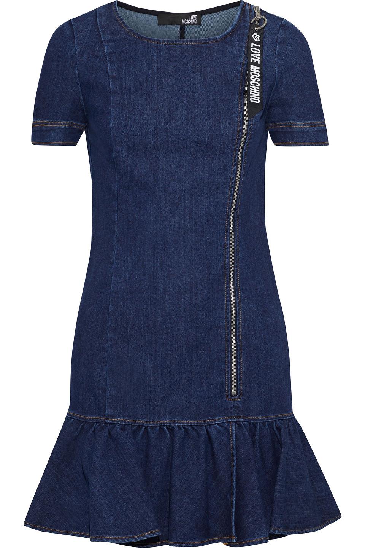 Love Moschino | Love Moschino Woman Fluted Denim Mini Dress Dark | Clouty