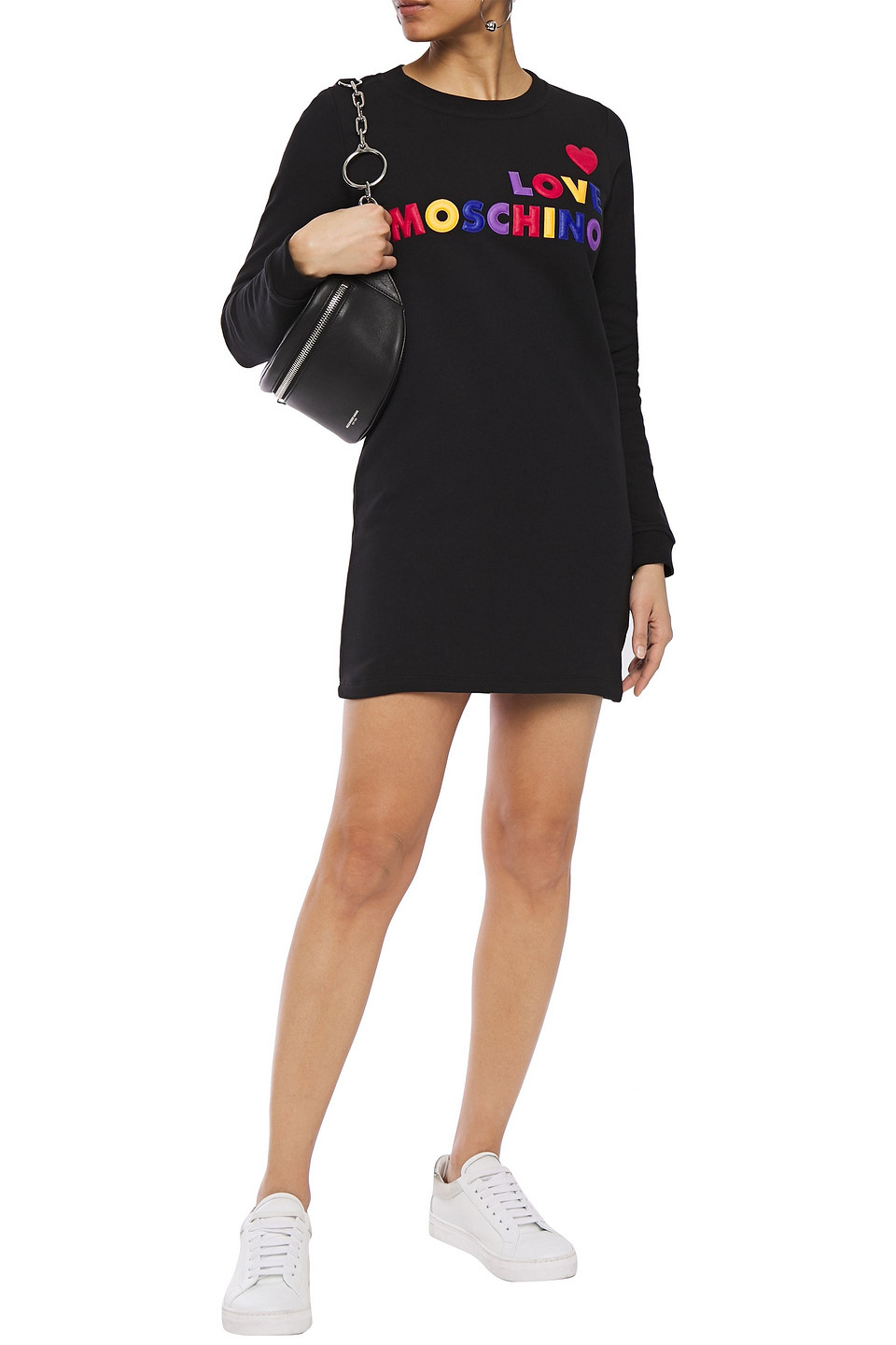 Love Moschino | Love Moschino Woman Embroidered French Cotton-terry Mini Dress Black | Clouty