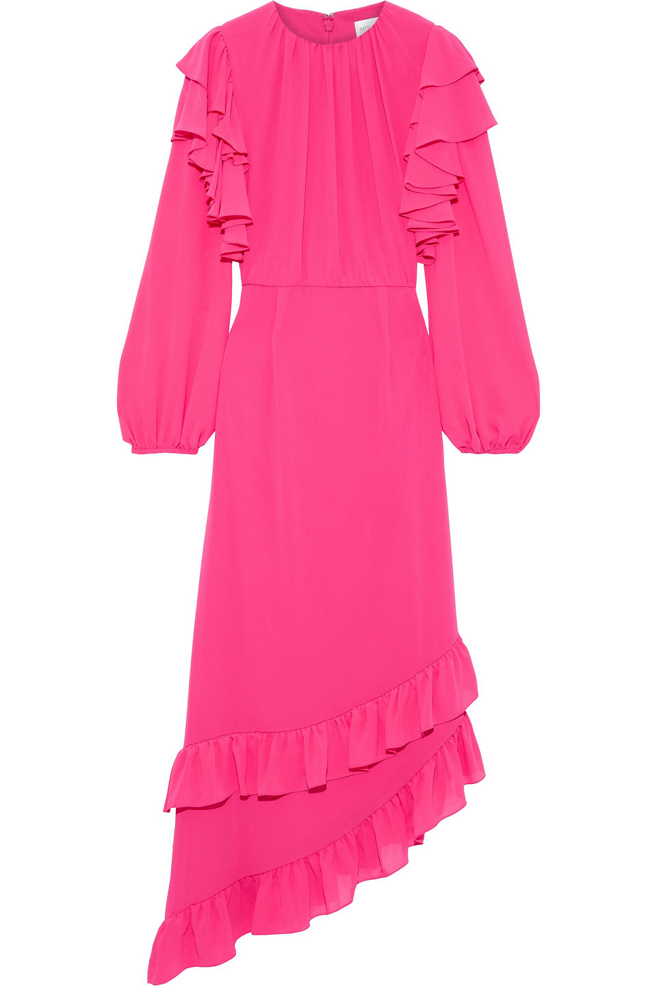 Mikael Aghal | Mikael Aghal Woman Asymmetric Ruffled Crepe Dress Bright Pink | Clouty