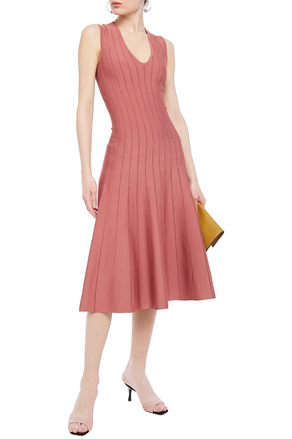 Casasola | Casasola Woman Ribbed Stretch-knit Midi Dress Antique Rose | Clouty
