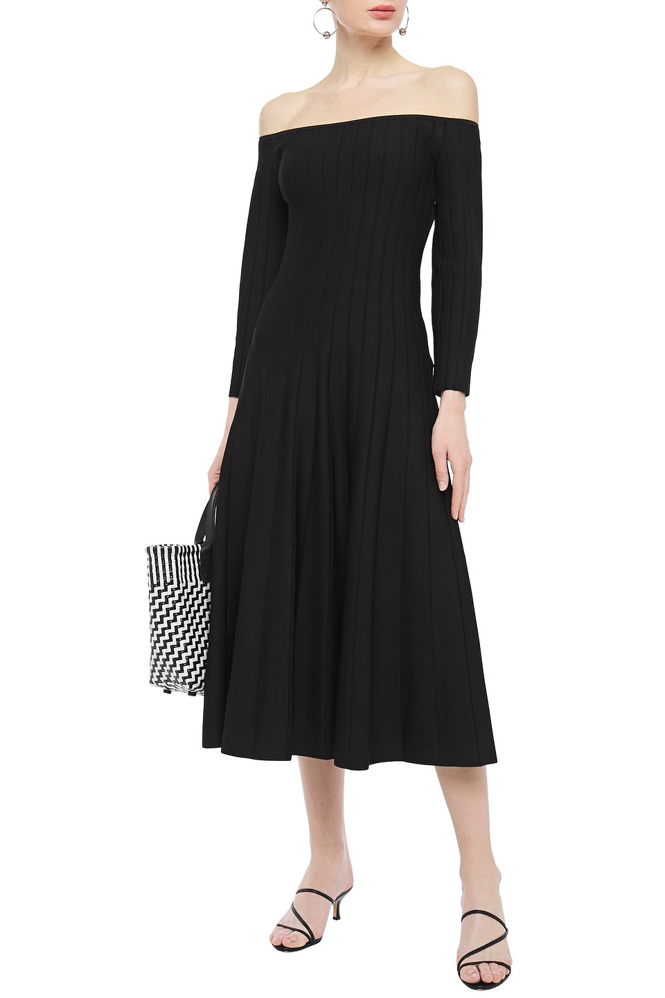Casasola | Casasola Woman Off-the-shoulder Ribbed Stretch-knit Midi Dress Black | Clouty