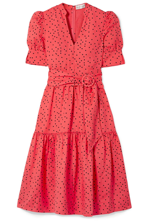 Rebecca Vallance | Rebecca Vallance Woman Holliday Belted Polka-dot Linen-blend Midi Dress Coral | Clouty