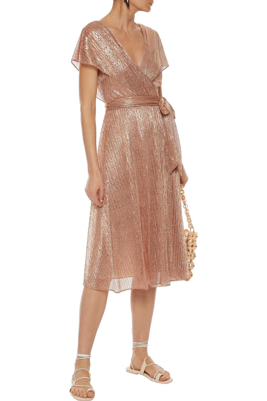 Alice + Olivia   Alice + Olivia Woman Darva Wrap-effect Lame Midi Dress Rose Gold   Clouty