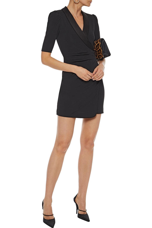 Alice + Olivia | Alice + Olivia Woman Remi Wrap-effect Satin-trimmed Stretch-jersey Mini Dress Black | Clouty