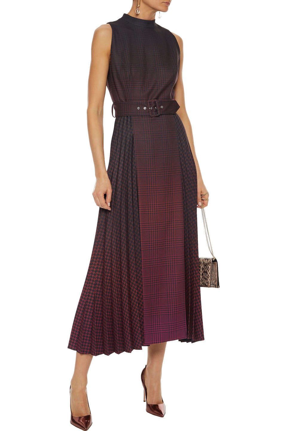 MARY KATRANZOU | Mary Katrantzou Woman Julia Belted Pleated Degrade Houndstooth Twill Midi Dress Plum | Clouty