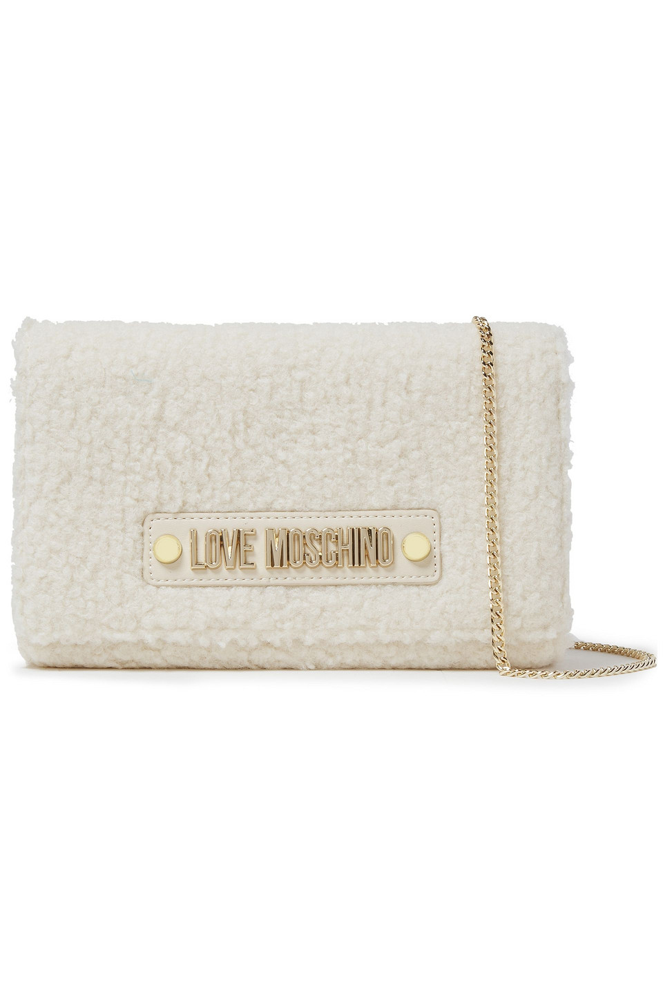 Love Moschino | Love Moschino Woman Faux Shearling Shoulder Bag Ivory | Clouty
