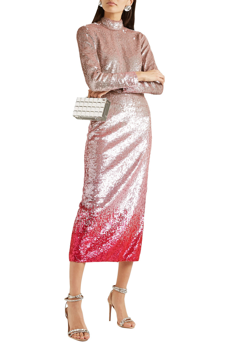 Temperley London | Temperley London Woman Opia Open-back Degrade Sequined Stretch-crepe Midi Dress Pastel Pink | Clouty