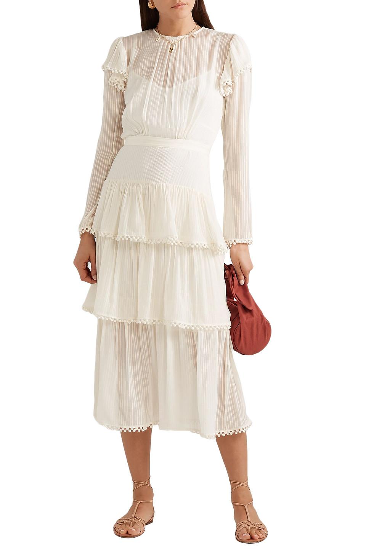 Zimmermann   Zimmermann Woman Tiered Silk-georgette Midi Dress Ivory   Clouty