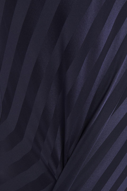 Michelle Mason   Michelle Mason Woman One-shoulder Striped Silk-satin Jacquard Midi Dress Navy   Clouty