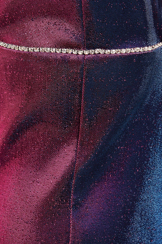 Area   Area Woman Crystal-embellished Degrade Iridescent Twill Mini Dress Fuchsia   Clouty
