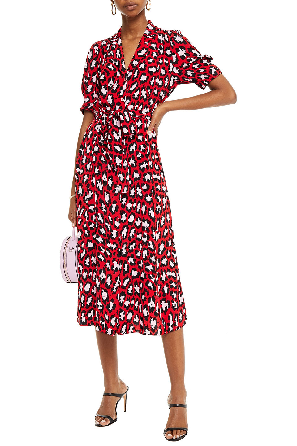 Diane Von Furstenberg   Diane Von Furstenberg Woman Lily Belted Floral-print Silk Crepe De Chine Midi Dress Red   Clouty