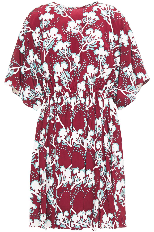 VALENTINO | Valentino Woman Gathered Floral-print Silk Crepe De Chine Mini Dress Merlot | Clouty