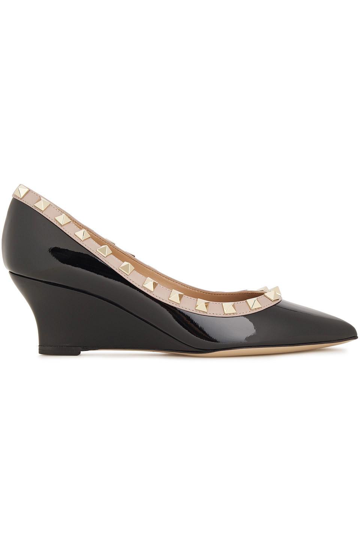Valentino Garavani | Valentino Garavani Woman Rockstud Smooth And Patent-leather Wedge Pumps Black | Clouty